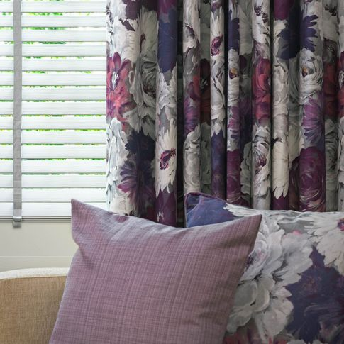 Monroe Damson curtains and venetian lumiere in living room