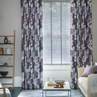 Monroe Damson and Venetian Lunaire faux-wood blinds in living room