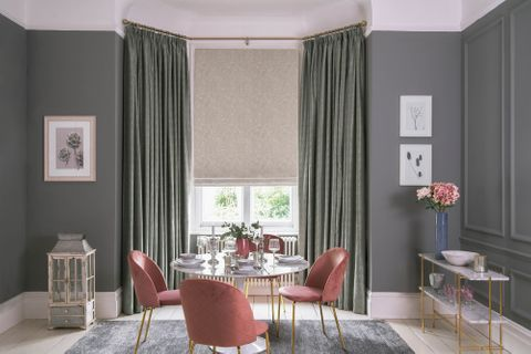 Muse Pearl curtains and Daze Silver romans in the dining room