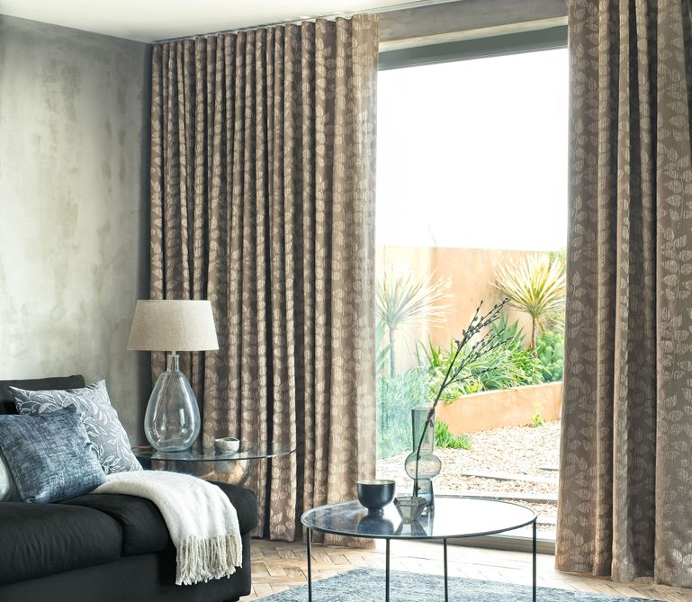 Roche Taupe curtains in living room