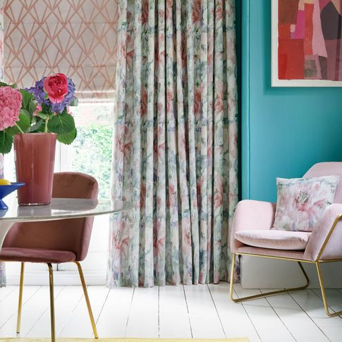 Saskia Fuchsia curtains and Dimension Rose Quartz romans in the dining room