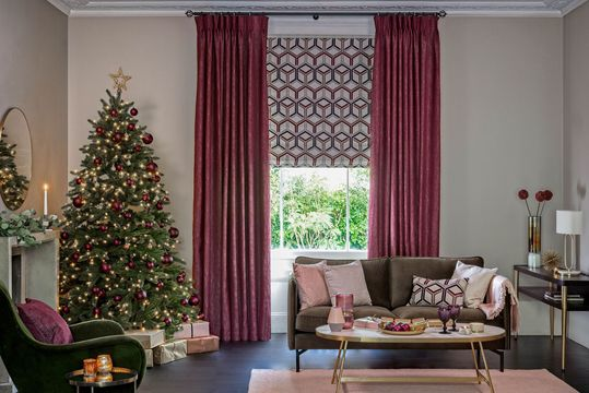 Surface Port curtains and  Metro Maroon romans in the living room decorated for christams