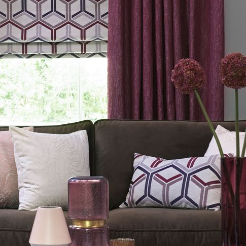 Close up of Surface Port curtains and  Metro Maroon Romans in the living room