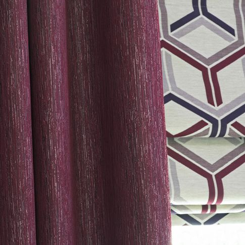 Close up of Surface Port curtains and  Metro Maroon romans