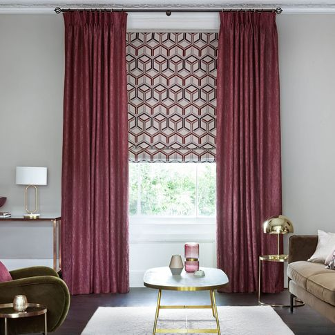 Surface Port curtains and Metro Maroon romans in the living room