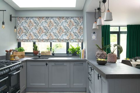 Tetbury Forest romans and Mirissa Henna curtains in kitchen