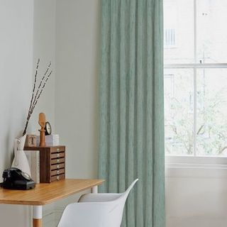 Mineral Azure Curtains in home office with desk and chair in front