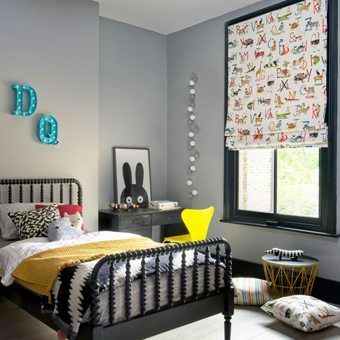 ABC and animals printed roman blinds in children bedroom