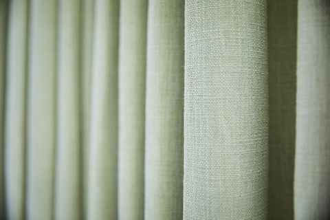 Close up detail of Neo Mint curtain fabric