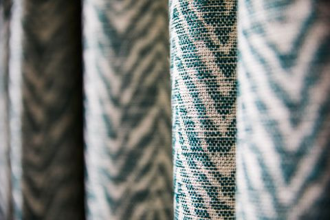 Close up detail of Jagger Everglade geometric curtains