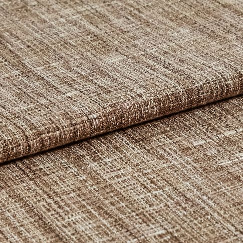 Brown coloured fabric with lines of white to create a textured appearance
