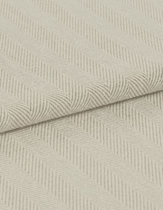 A striped, neutral folded fabric, in the Kendra Linen design
