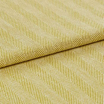A folded view of the Kendra Maize fabric, showing its striped yellow design