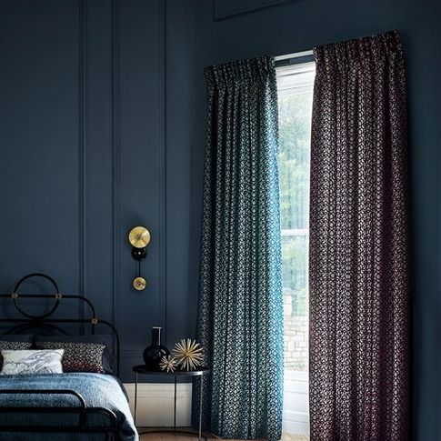 mercury collections Curtains in Quartz Deep Cerise and Quartz Deep Opal  in bedroom setting