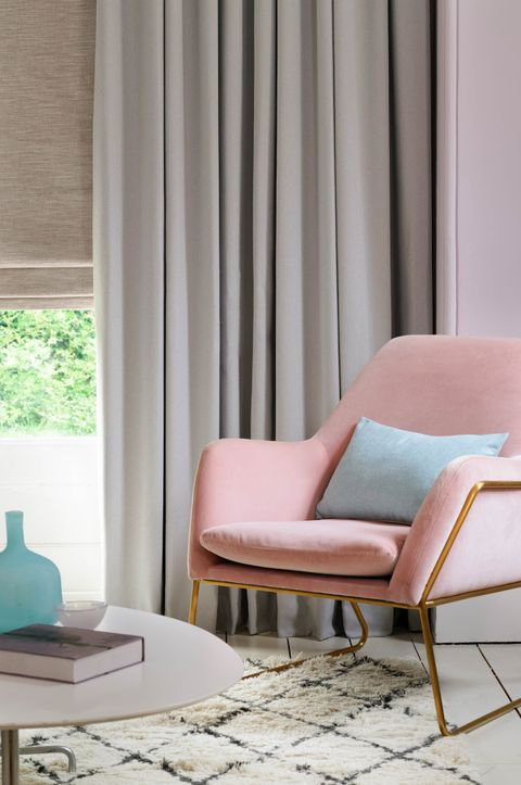 Huxley Dove Grey Curtains with Haddie Chalk Pink Curtains in a living room