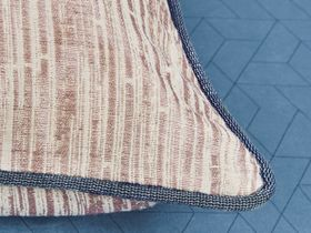 Beige and brown striped cushion with dark grey edge piping
