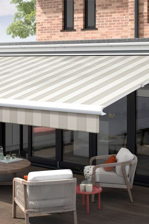 verona craft grey awning in garden dining setting