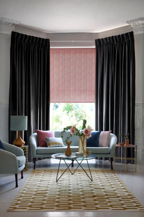Allure Slate Curtains with Siesta Salmon Roller blind in a living room window