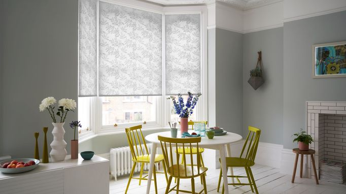Cecille White roller blind in a light grey kitchen