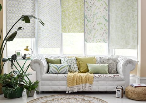 Modest Houthouse green, Riya Lagoon, Troical Garden Green and Greenery Tropical roller blinds