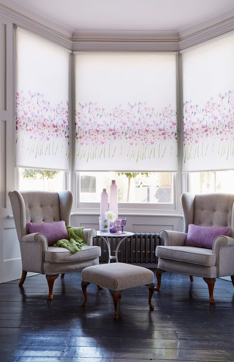 Freeda Violet Roller blind in living room bay window