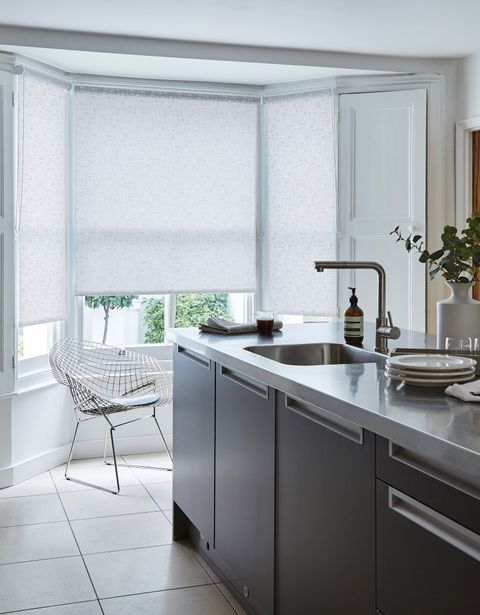 Alder Bert roller blind in a kitchen window