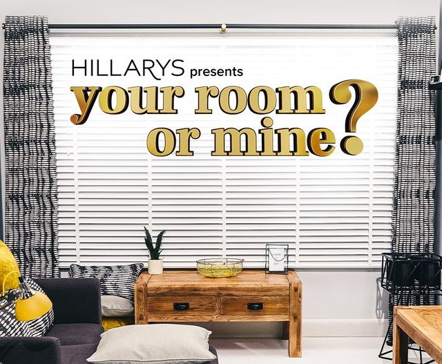 hillarys presents your room or mine, logo and image for hillarys tv show in living rooms setting