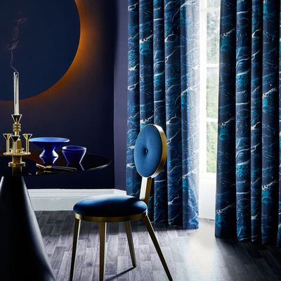 Mercury collection curtains in Onyx Magma in dining room setting
