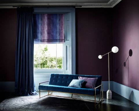 Mercury collection curtains in Titan Nightgaze with Abyss Aura roman blinds in living room setting