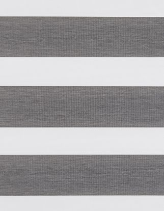 Dawn grey swatch which has a dark grey textured fabric in horizontal stripes with white