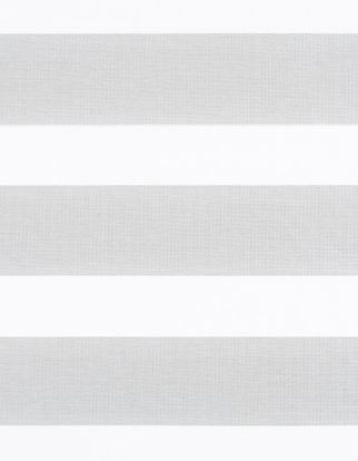 Horizontal stripes of silver are matched with white for the dawn silver grey swatch