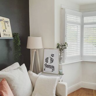white shutters in living room
