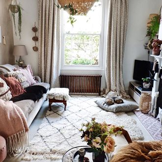 Rustic print curtains in living room