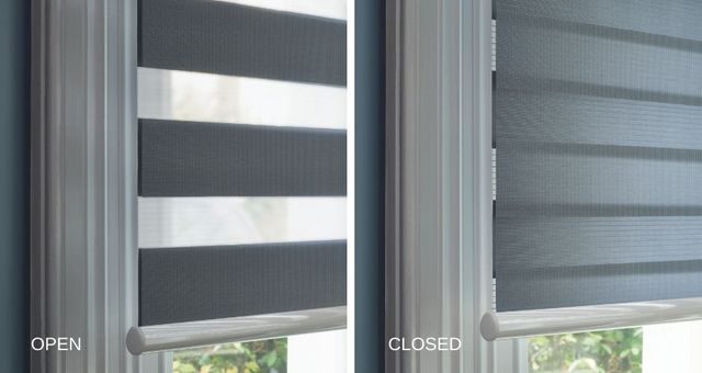 close up showing how day and night blinds can be adjusted to alter levels of incoming light