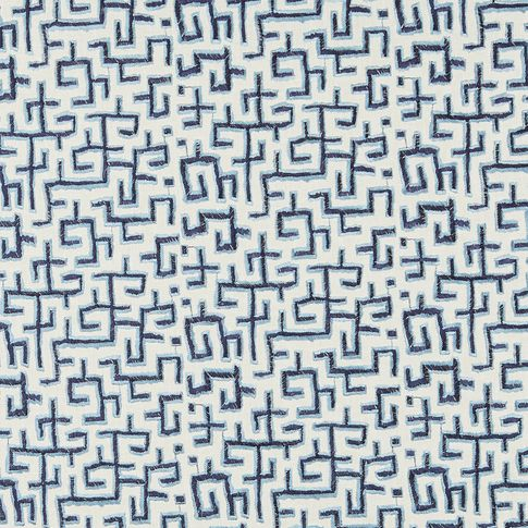 Eivissa Almafi fabric swatch featuring blue pattern on white