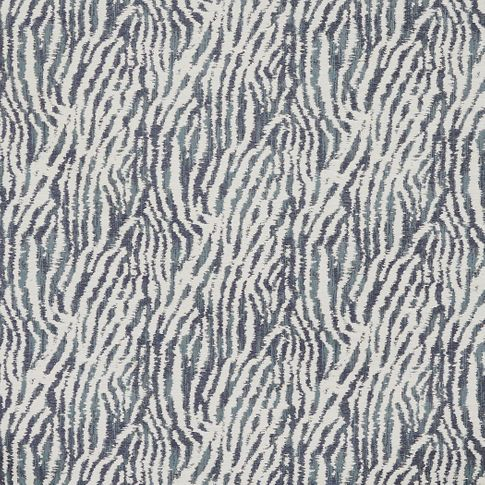 Living etc Impala Ink dark grey fabric swatch with white  zebra print