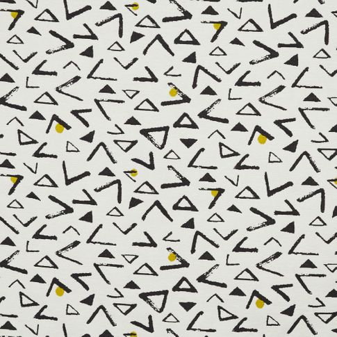 White fabric swatch with black retro print in living etc range