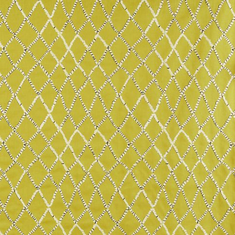 Citrine color fabric swatch with retro pattern embroidery in living etc range
