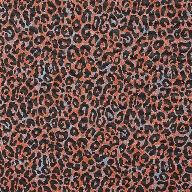 Copper color fabirc swatch with black leopard print in living etc range