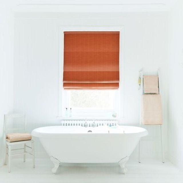 Roman Blind_Clarence Terracotta_Roomset