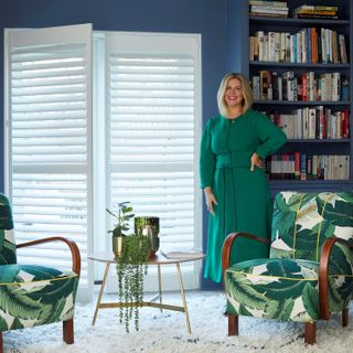 View of erica davies Living room and the  doors are installed with full height white shutters