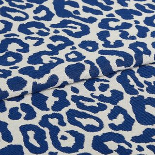 Wild cobalt fabric swatch featuring blue leopard print on white background