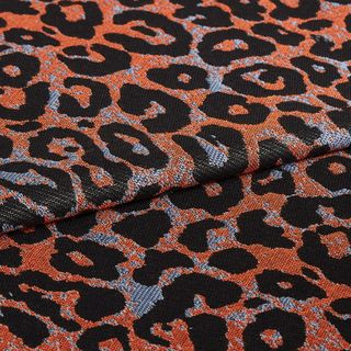 Wild Sienna fabric swatch featuring black leopard print on grey and orange background