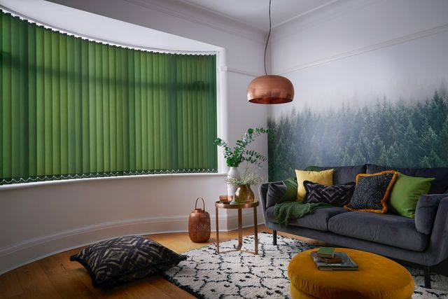 green vertical blinds dressed on curved windows of living room