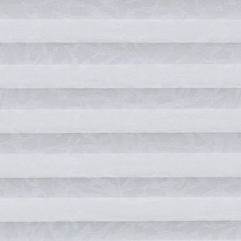 White patterned  swatch for pleated blinds