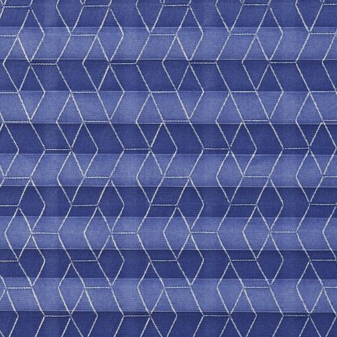 Royal blue geometric patterned  swatch for pleated blinds