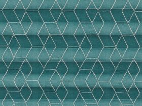 Green geometric patterned  swatch for pleated blinds