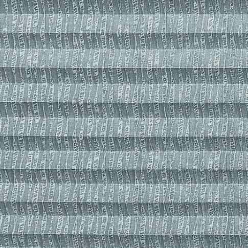 Grey swatch  for pleated blinds featuring ribbon print