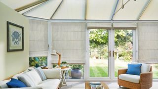Roman Blind_Downtown Blue Sides and Elba Cream Roof Pleated Blind_Conservatory