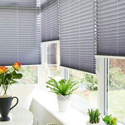 Crush Charcoal Pleated Conservatory Blind